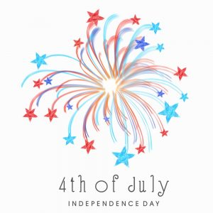 Shiny colorful fireworks with stars on white background for 4th of July American Independence Day celebrations.
